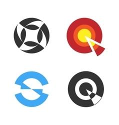 Circular logo set negative space style logotype vector