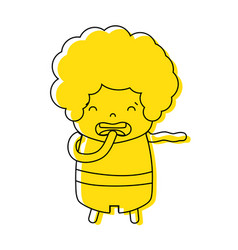 Color boy with curly hair and disgusted face vector