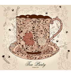 Fancy tea cups vector