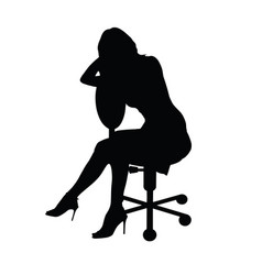 Girl silhouette figure sitting on chair vector