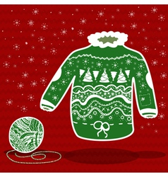 Green knitted christmas sweater and a ball of yarn vector image vector image