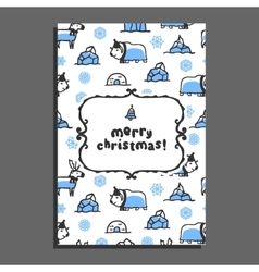 Merry christmas greeting card template with cute vector