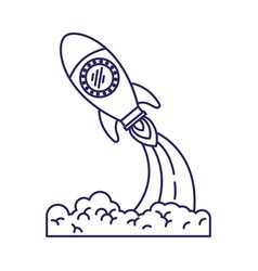 Purple line contour of space rocket launch vector