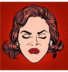 Retro Emoji anger rage woman face vector image vector image