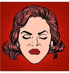 Retro emoji anger rage woman face vector