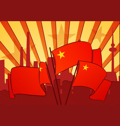 Revolutional background with a red flags vector