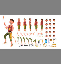 Rock climber male animated character vector