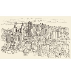 San Francisco City Architecture Vintage Engraved vector image