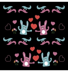 Seamless background with love hares and hearts vector image