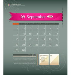 September 2013 Calendar vector image