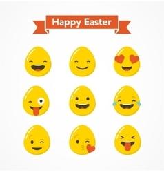 Set of easter eggs emoticons emoji set vector