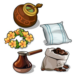 Set of mate coffee pillow and floral wreath vector