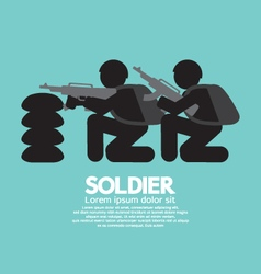 Soldiers With Guns And Bunker vector image