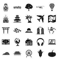 Travel by plane icons set simple style vector