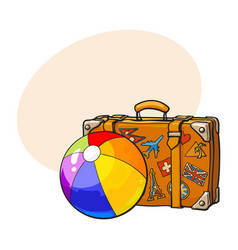 travel suitcase with colorful labels and rainbow vector image vector image