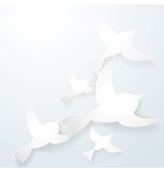 Two origami birds on a white background vector