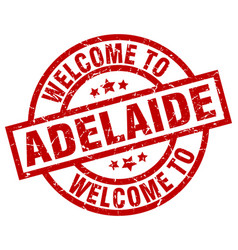 Welcome to adelaide red stamp vector