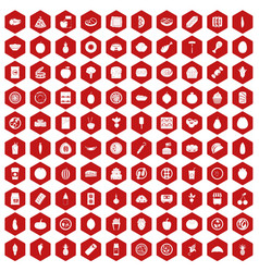100 nutrition icons hexagon red vector image vector image