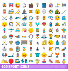 100 sport icons set cartoon style vector