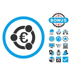 Euro collaboration flat icon with bonus vector