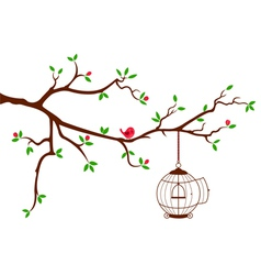 Tree branch with rounded bird cage vector