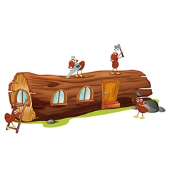 Ants and a wood house vector