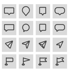 Line map pointer icons set vector