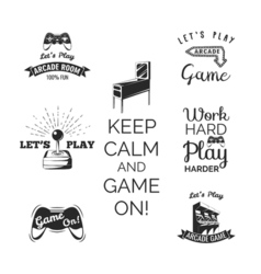 video games labels set Arcade game room Let s play vector image