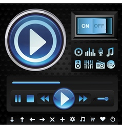 Set with interface design elements for music playe vector