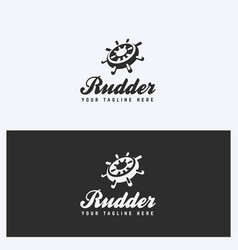 Rudder helm logo design template vector