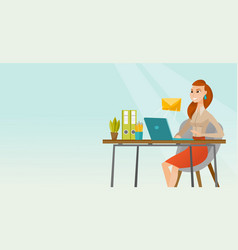 Business woman receiving or sending email vector