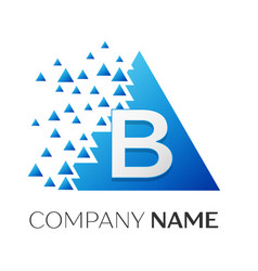 letter b logo symbol on colorful triangle vector image