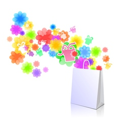 Package with a gift box and flowers vector