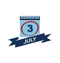 3 july calendar with ribbon vector