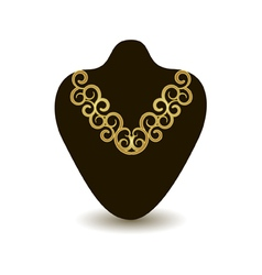 Gold necklace on a black mannequin vector