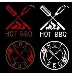 Hot bbq grill labels collection vector
