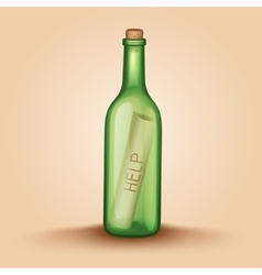 Realistic bottle with a letter help vector