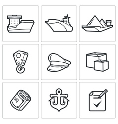 Sea craft icons vector