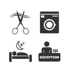 Hotel services icon washing machine hairdresser vector