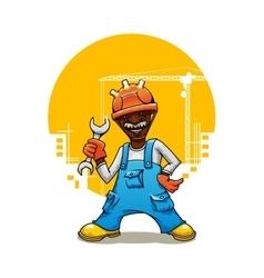 Cartoon builder in uniform with spanner vector image