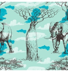 African pattern baobab tree and elephant summer vector image
