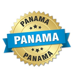 Panama round golden badge with blue ribbon vector
