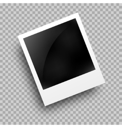 Photo frame polaroid template on transparent grid vector