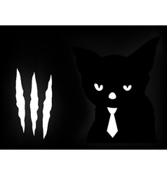 Black cat in a dark room vector image vector image