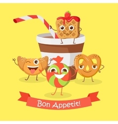 Bon appetit funny cartoon characters banner vector