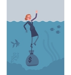Businesswoman drowning chained with a dollar sack vector