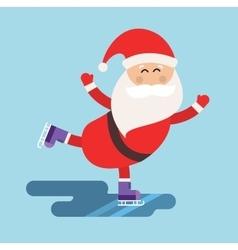 Cartoon santa ice skates winter sport vector