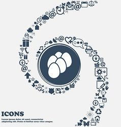 Eggs icon in the center around the many beautiful vector