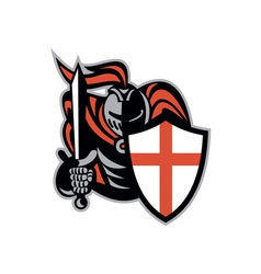 English Knight With Sword England Shield Retro vector image vector image