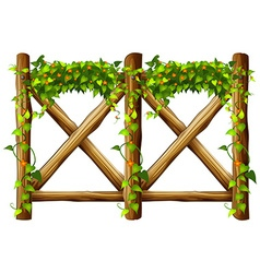 Fence design with wooden fence and vine vector